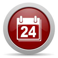 calendar red glossy web icon