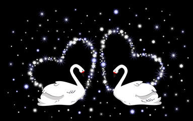 Wedding vector background with hearts and white swans