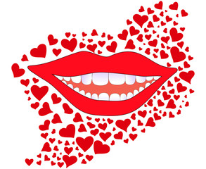 Vector background with smiling female lips and snowwhite teeth