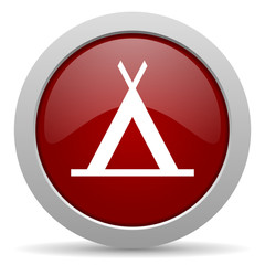 camp red glossy web icon