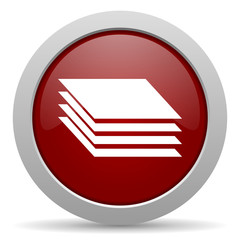 layers red glossy web icon