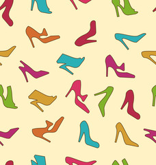 Seamless Texture with Colorful Women Footwear