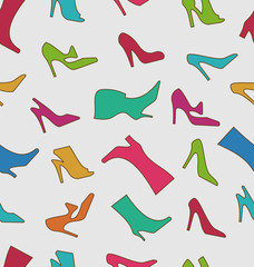 Seamless Pattern with Colorful Women Footwear