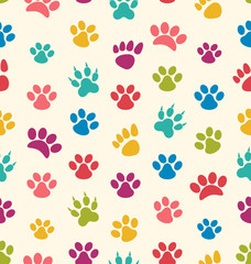 Seamless Texture with Traces of Cats, Dogs. Imprints of Paws Pet