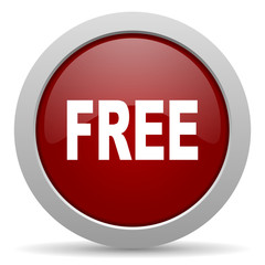 free red glossy web icon