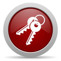 keys red glossy web icon