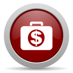 financial red glossy web icon