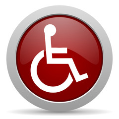 wheelchair red glossy web icon