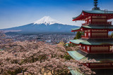 Red pagoda with Mt. Fuji as the background - 81895038