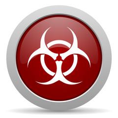biohazard red glossy web icon