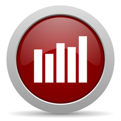 graph red glossy web icon