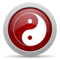 ying yang red glossy web icon