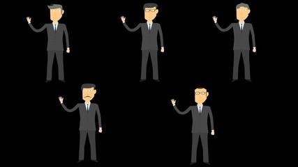 cartoon characters  businessman shows gesture greeting alpha 4k
