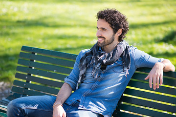 Man relaxing on a bench