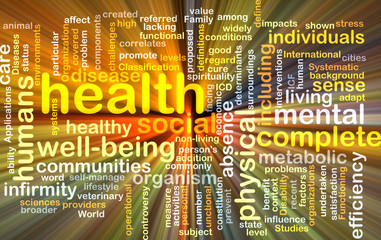 Health wordcloud concept illustration glowing