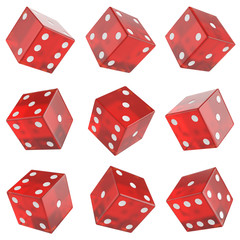 set red glass dice