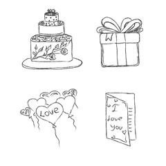 wedding set, sketch, hand drawing, vector, illustration