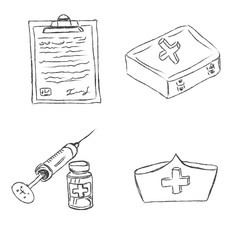 Medical, objects, sketch, vector, illustration