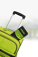 Honiara. Green suitcase with guidebook.