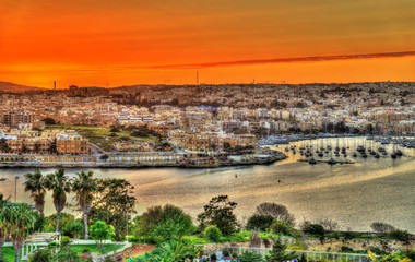Sunset over Msida town in Malta