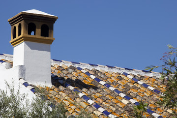 Roof made with glaced colorful tiles
