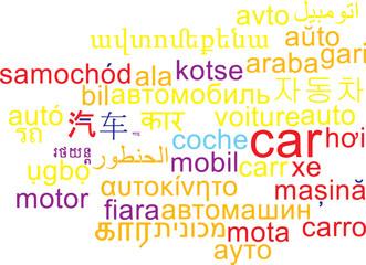 Car multilanguage wordcloud background concept