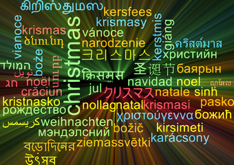 Christmas multilanguage wordcloud background concept glowing