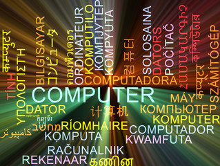 Computer multilanguage wordcloud background concept glowing