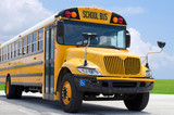 Fototapety School bus on blacktop with clean sunny background