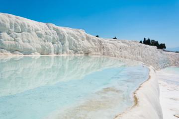 Natural travertine pools and terraces at Pamukkale ,Turkey