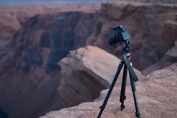 Camera overlooking Canyon at Horseshoe Bend AZ