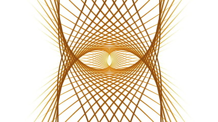 golden wires  rotating, circular dynamic motion on white