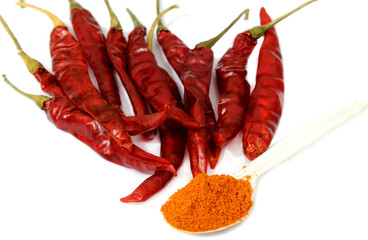 Red chilli pepper with ground powder