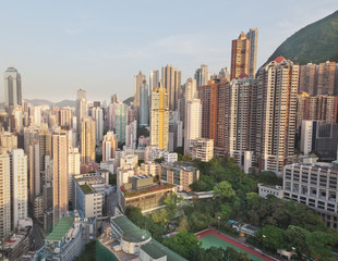 Hong Kong city view from the roof of the building
