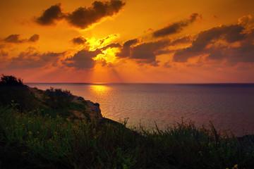 Orange sunset over Mediterranean Sea