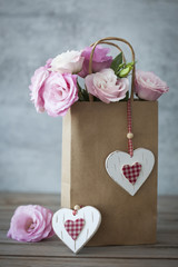 Romantic Gift with Roses and Hearts