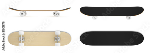 set skateboard isolated on white background. - 81901879