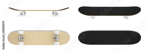 Leinwandbild Motiv set skateboard isolated on white background.