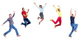 Fototapety Group of happy jumping people.