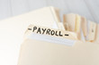 yellow paper folder labeled PAYROLL - 81902284