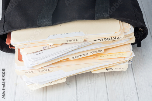 Leinwanddruck Bild small business bookkeeping files