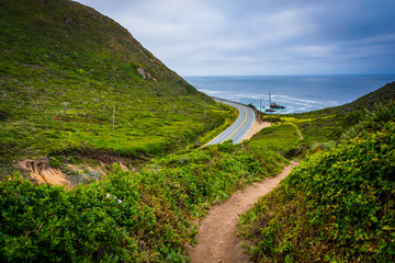 Trail and view of Pacific Coast Highway, at Garrapata State Park