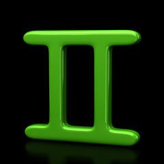 Green gemini zodiac sign on black background