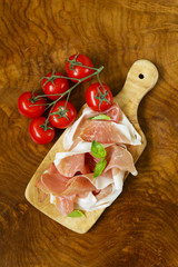 parma ham (jamon) with fragrant herbs traditional Italian