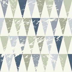 Seamless Geometric Grunge Texture with Blue and Grey Triangles