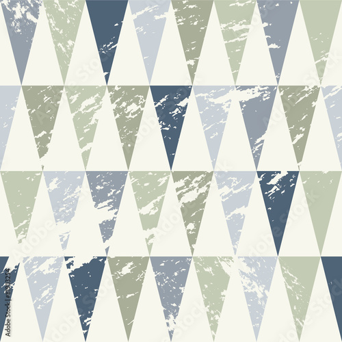 Seamless Geometric Grunge Texture with Blue and Grey Triangles © ru.co.la
