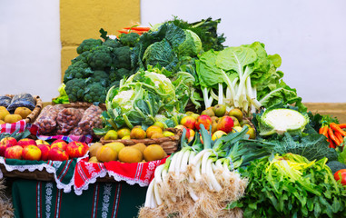 Cabbage and other vegetables on   counter