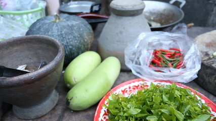 Local kitchen in eastern of Thailand - most use fresh vegetable
