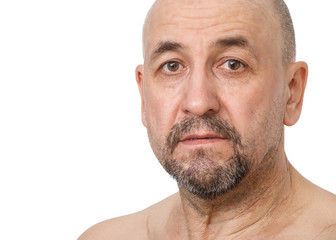 Serious middle aged man on a white background