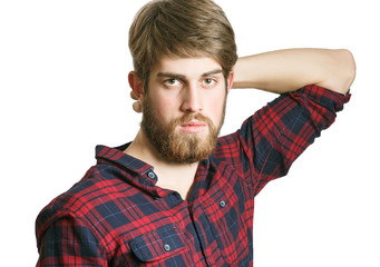 Happy young bearded hipster